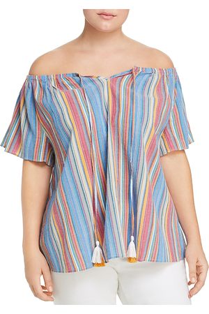 Seven7 Jeans Plus Striped Off-the-Shoulder Top