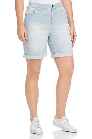 Seven7 Jeans Plus Weekend Bermuda Striped Denim Shorts in Magnetic