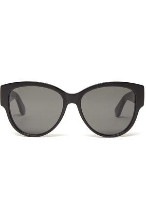 Saint Laurent Monogram Logo Cat Eye Acetate Sunglasses - Womens
