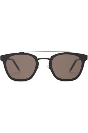 Saint Laurent Round Frame Top Bar Metal Sunglasses - Womens
