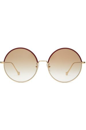 Loewe Round Frame Leather Trimmed Metal Sunglasses - Womens