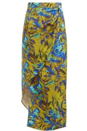 Raey Asymmetric Uv Floral Print Silk Skirt - Womens - Print