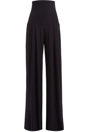 Norma Kamali High-rise Pleated Wide-leg Trousers - Womens - Navy