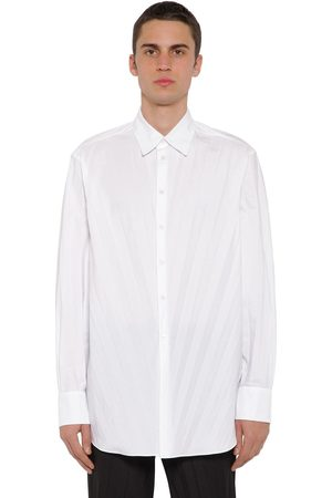 Valentino Men Casual - Oversized Pleat Tech Cotton Poplin Shirt