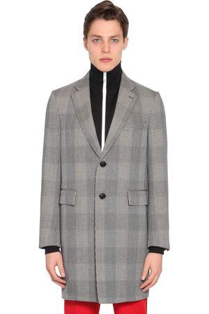VERSACE Checked Wool Gabardine Coat