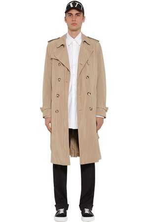 Valentino Plisse Tech Canvas Trench Coat