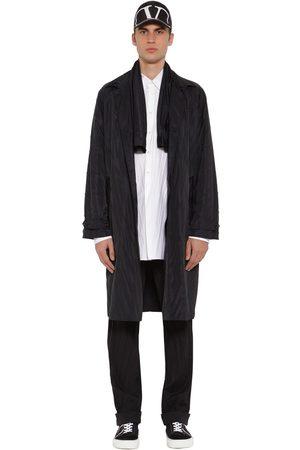 Valentino Pleated Tech Silk & Canvas Coat W/ Scarf