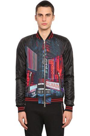 Balmain Men Bomber Jackets - Printed Tech Satin Bomber Jacket
