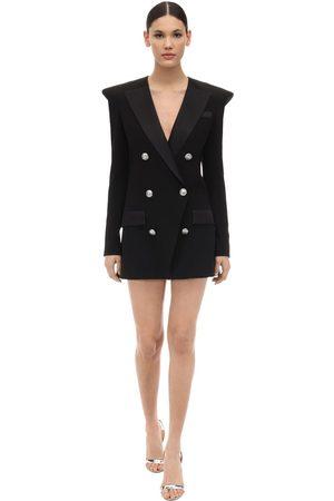 Balmain Crepe & Satin Blazer Dress