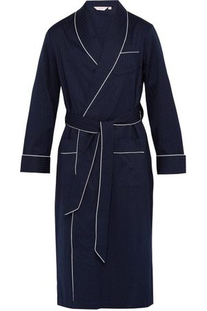 DEREK ROSE Polka Dot Jacquard Stripe Cotton Robe - Mens - Navy