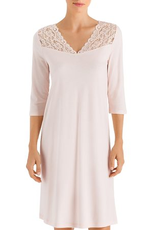 Hanro Moments Lace-Trim Three-Quarter Sleeve Cotton Gown