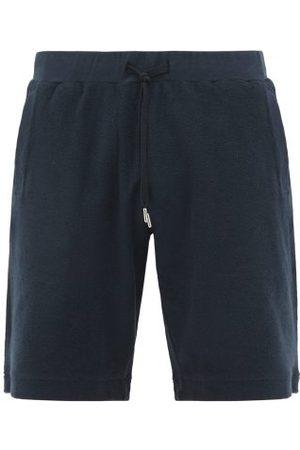 Sunspel Drawstring Organic Cotton-terry Shorts - Mens - Navy