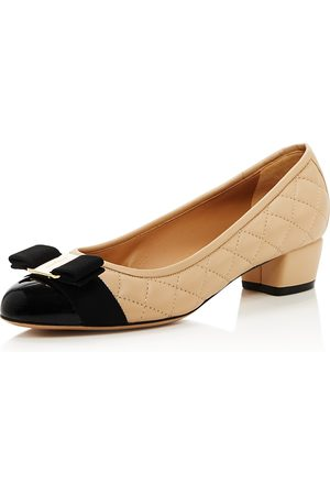 Salvatore Ferragamo Women Pumps - Vara Quilted Leather Low Heel Pumps