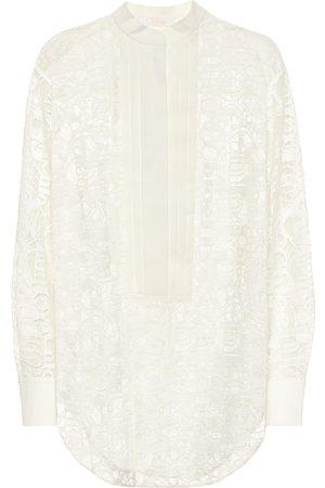 Chloé Logo cotton-blend lace shirt