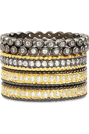 Freida Rothman Classic Stackable Rings in 14K Gold-Plated & Rhodium-Plated Sterling Silver, Set of 5