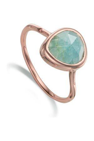 Monica Vinader Siren Aquamarine Stacking Ring, Rose Gold Vermeil on Silver