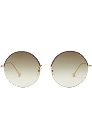 Loewe Round Frame Leather Trimmed Sunglasses - Womens