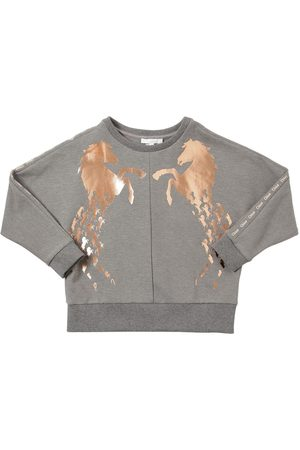 Chloé Girls Sweatshirts - Horse Print Cotton Blend Sweatshirt
