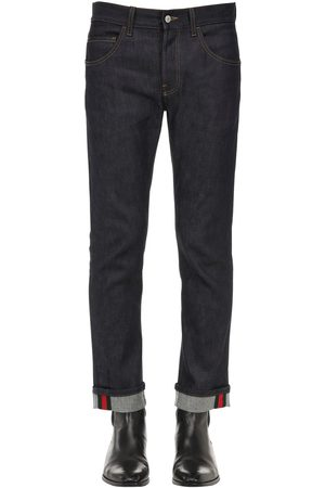 Gucci 17.5 Cotton Blend Jeans W/ Web Detail