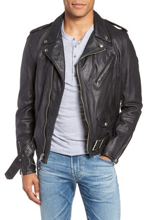 Schott NYC Men's Hand Vintaged Cowhide Leather Motocycle Jacket