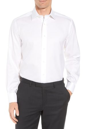 David Donahue Men's Regular Fit Solid French Cuff Tuxedo Shirt
