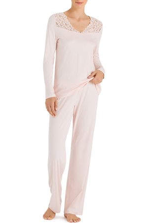 Hanro Moments Lace-Trim Cotton Long Sleeve Pajama Set