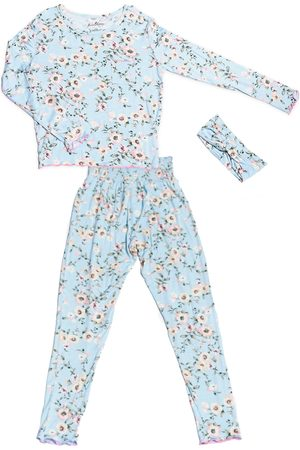 Baby Grey Infant Girl's Charlie Fitted Two-Piece Pajamas & Head Wrap Set