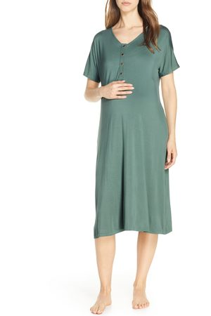 Nesting Olive Women's Solid Maternity/nursing Nightshirt