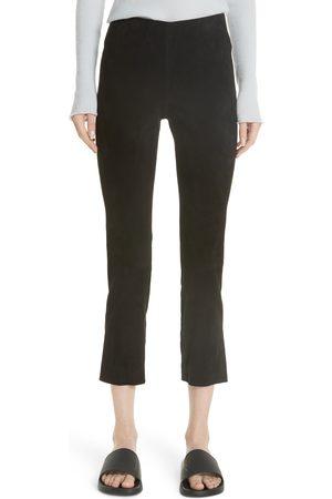 Vince Women's Split Hem Crop Stretch Suede Pants
