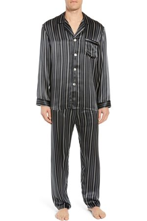 Majestic Men's Fresh Ink Stripe Silk Pajama Set