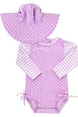 RuffleButts Infant Girl's Polka Dot One-Piece Rashguard Swimsuit & Sun Hat Set