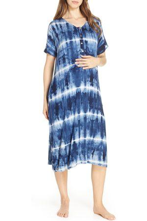 NESTING OLIVE Women's Tie-Dye Maternity/nursing Sleep Shirt