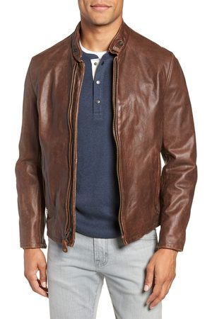 Schott NYC Men's Cafe Racer Hand Vintaged Cowhide Leather Jacket