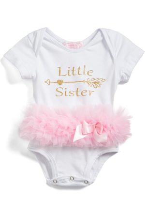 Popatu Infant Girl's r Little Sister Skirted Bodysuit