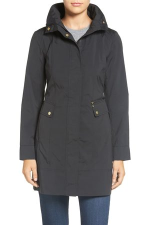 Cole Haan Petite Women's Back Bow Packable Hooded Raincoat