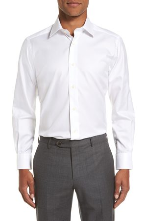 David Donahue Men's Trim Fit Solid Dress Shirt