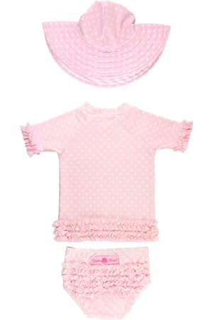 RuffleButts Infant Girl's Polka Dot Two-Piece Rashguard Swimsuit & Hat Set