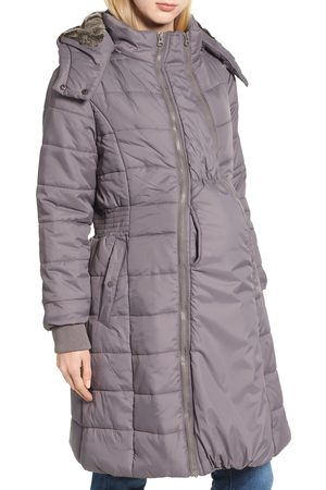 Modern Eternity Women's Madison Quilted 3-In-1 Maternity Puffer Coat With Faux Fur Trim