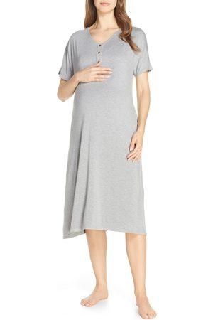 Nesting Olive Women's Solid Maternity/nursing Nightshirt