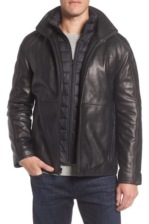 Marc Jacobs Men's Hartz Leather Jacket With Quilted Bib