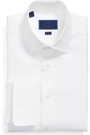 David Donahue Men's Big & Tall Trim Fit Solid French Cuff Dress Shirt