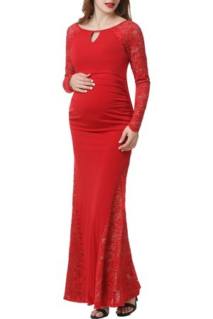 Kimi and Kai Women's Bella Long Sleeve Maternity Maxi Dress
