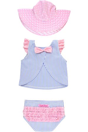 RuffleButts Toddler Girl's Peri Two-Piece Swimsuit & Hat Set
