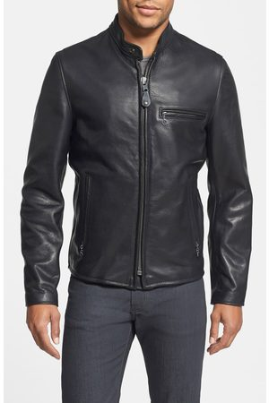 Schott NYC Men's Cafe Racer Oil Tanned Cowhide Leather Moto Jacket