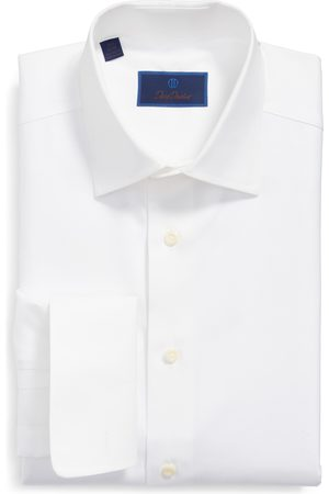David Donahue Men's Regular Fit Texture French Cuff Dress Shirt