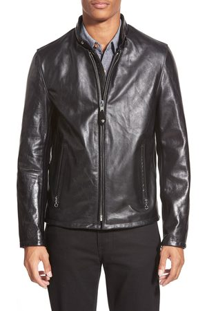 Schott NYC Men's Cafe Racer Waxy Cowhide Leather Jacket