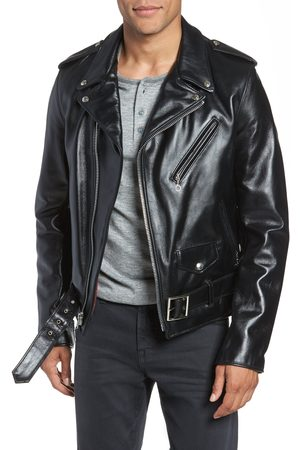 Schott NYC Men's Waxy Cowhide Leather Motorcycle Jacket
