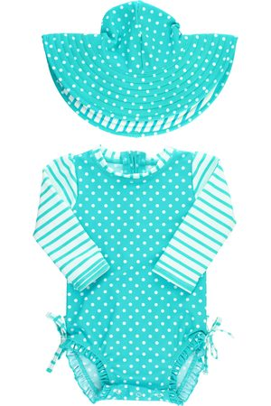 RuffleButts Infant Girl's One-Piece Rashguard Swimsuit & Hat Set