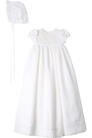 Pippa & Julie Infant Girl's Point Desprit Embroidered Heart Christening Gown & Bonnet
