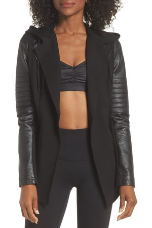 Blanc Noir Women's Hooded Moto Blazer With Faux Leather Sleeves